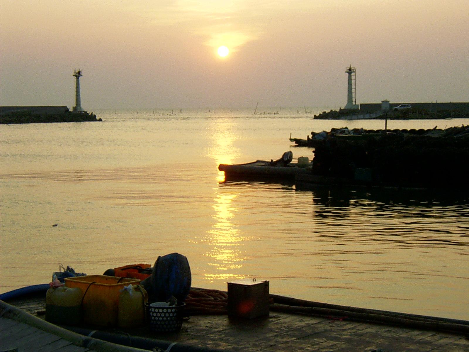 台西漁港夕陽黃昏