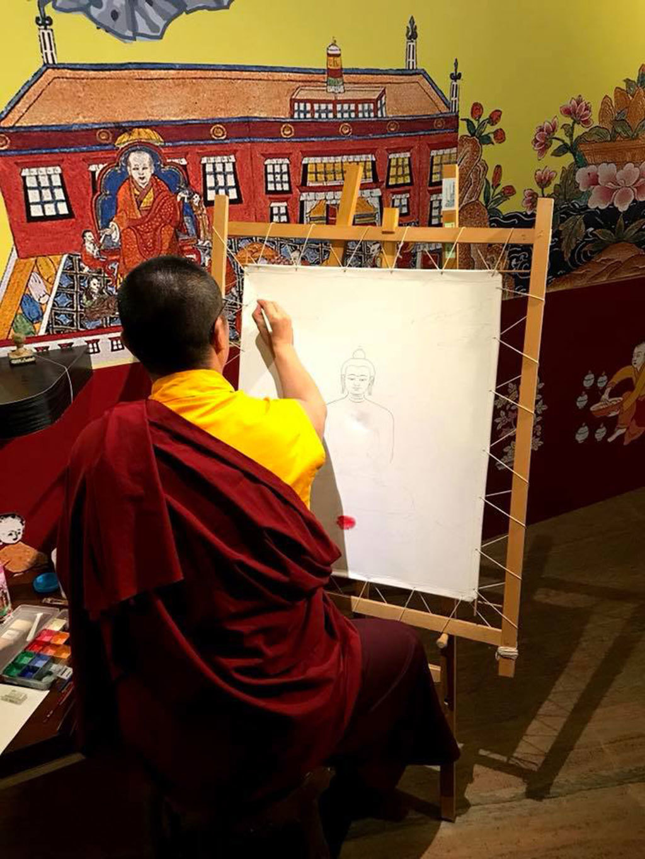 2018西藏文化藝術節_西藏醫學唐卡藝術特展開幕記者會-唐卡畫師現場繪製