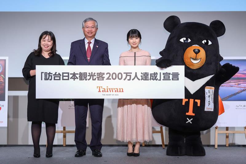 達成日本旅客訪台200萬人次的目標