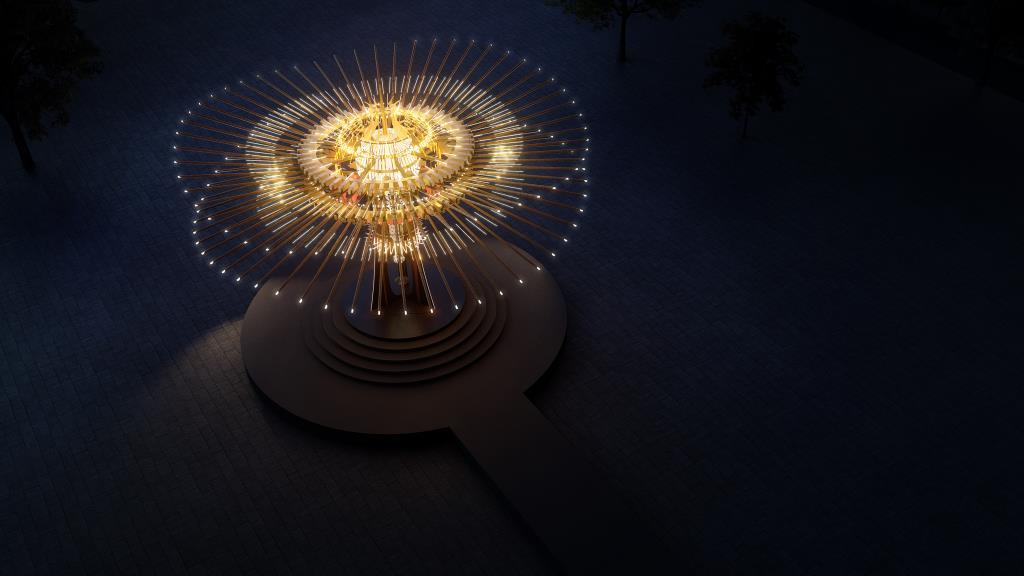 主燈「乘風逐光」設計連結新竹在地產業與傳統竹藝,將108根竹子、風城特色、工藝科技等元素結合  年度:2021  來源:交通部觀光局