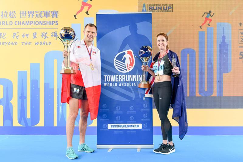 波蘭選手Piotr-Lobodzinski(左)與澳洲選手Zuzy-Walsham(右)分別奪下本屆男女子冠軍  年度:2018  來源:台北101