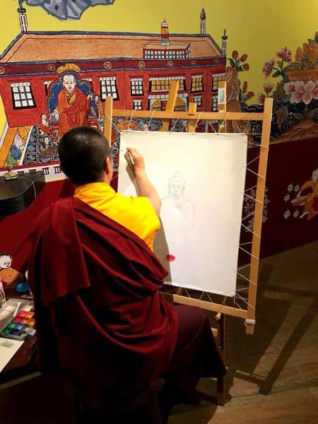 西藏醫學唐卡藝術特展開幕記者會-唐卡畫師現場繪製  年度:2018  來源:文化部