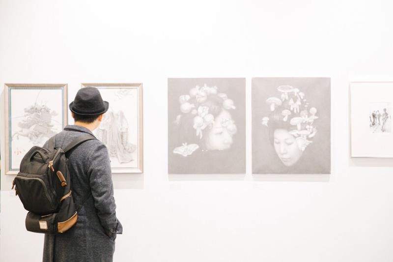People visit the exhibition