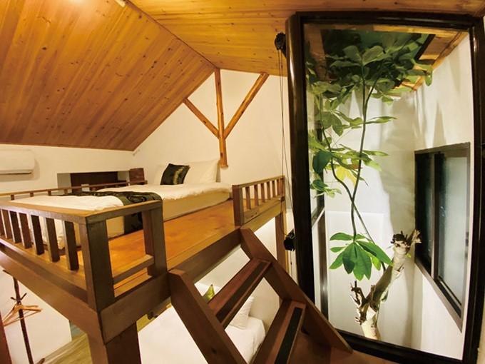 Dentro de la residencia de una sola planta se han instalado dos atractivas habitaciones en el desván