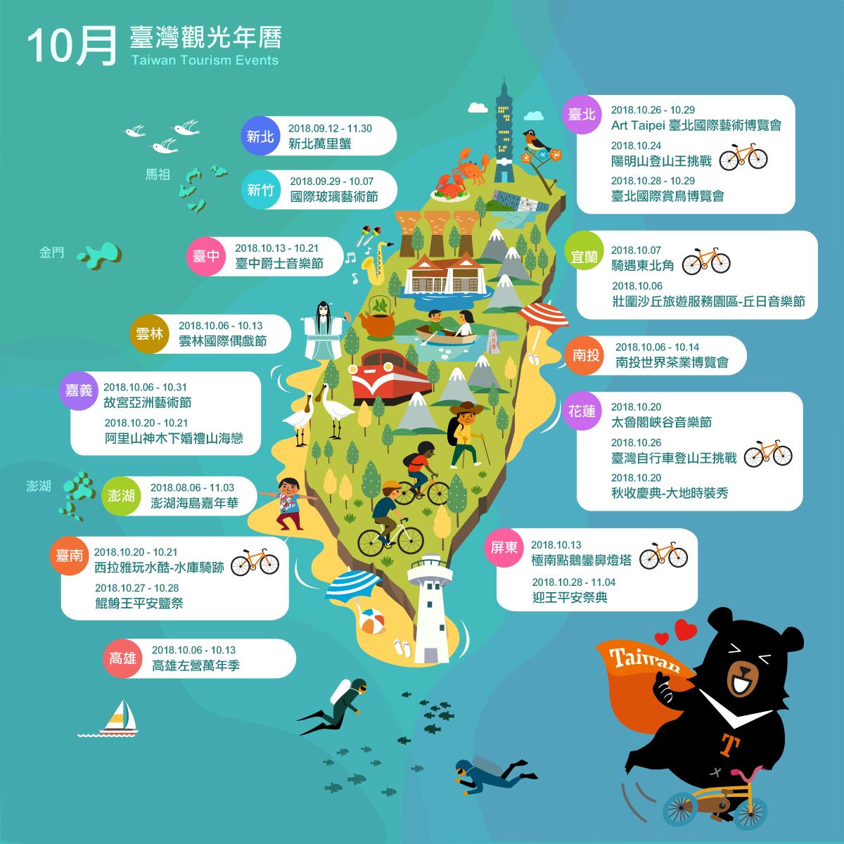 10月精彩活動盡在臺灣觀光新年曆