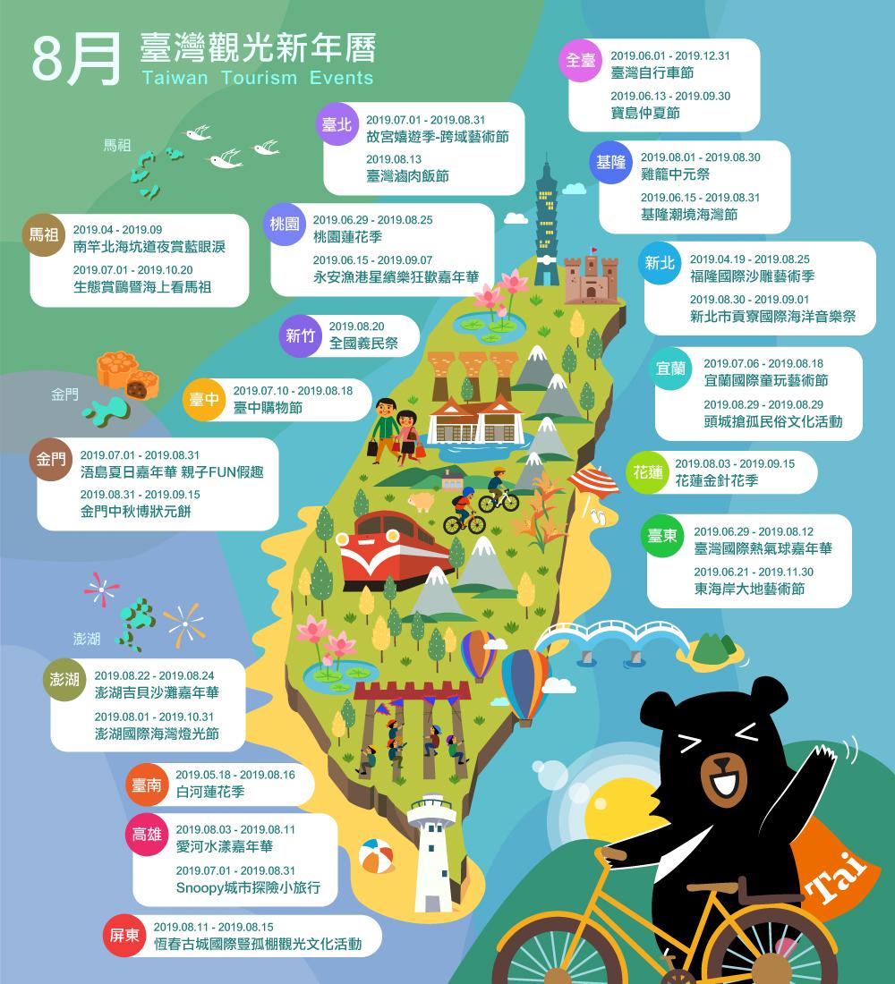 8月精彩活動盡在臺灣觀光新年曆