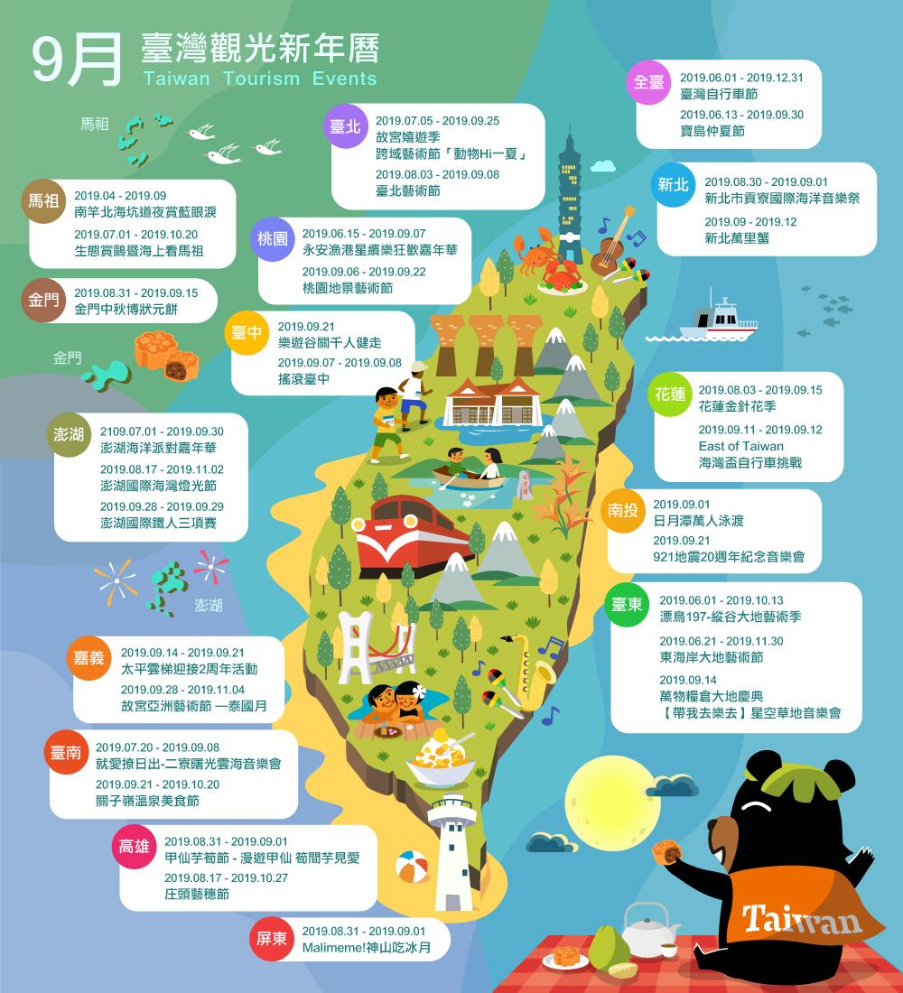 9月精彩活動盡在臺灣觀光新年曆