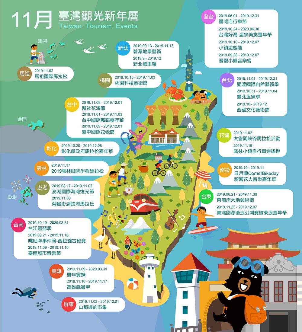 11月精彩活動盡在臺灣觀光新年曆