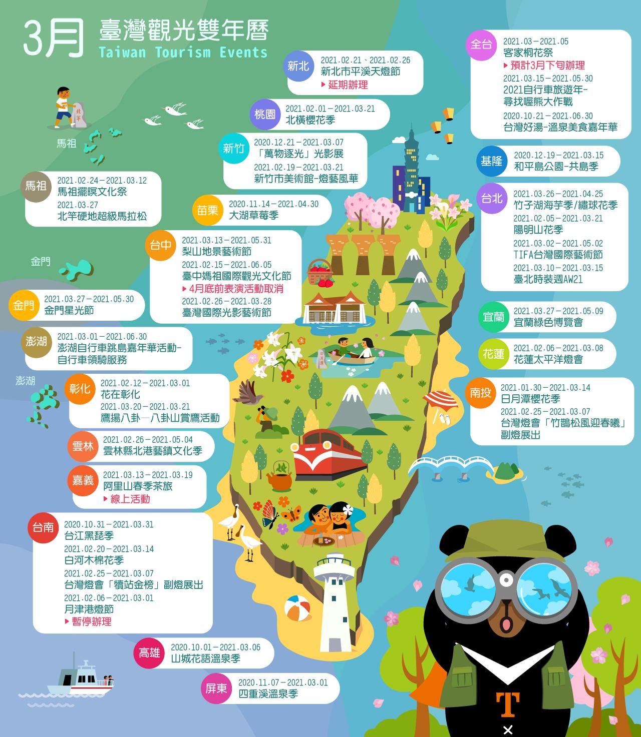 3月精彩活動盡在臺灣觀光雙年曆