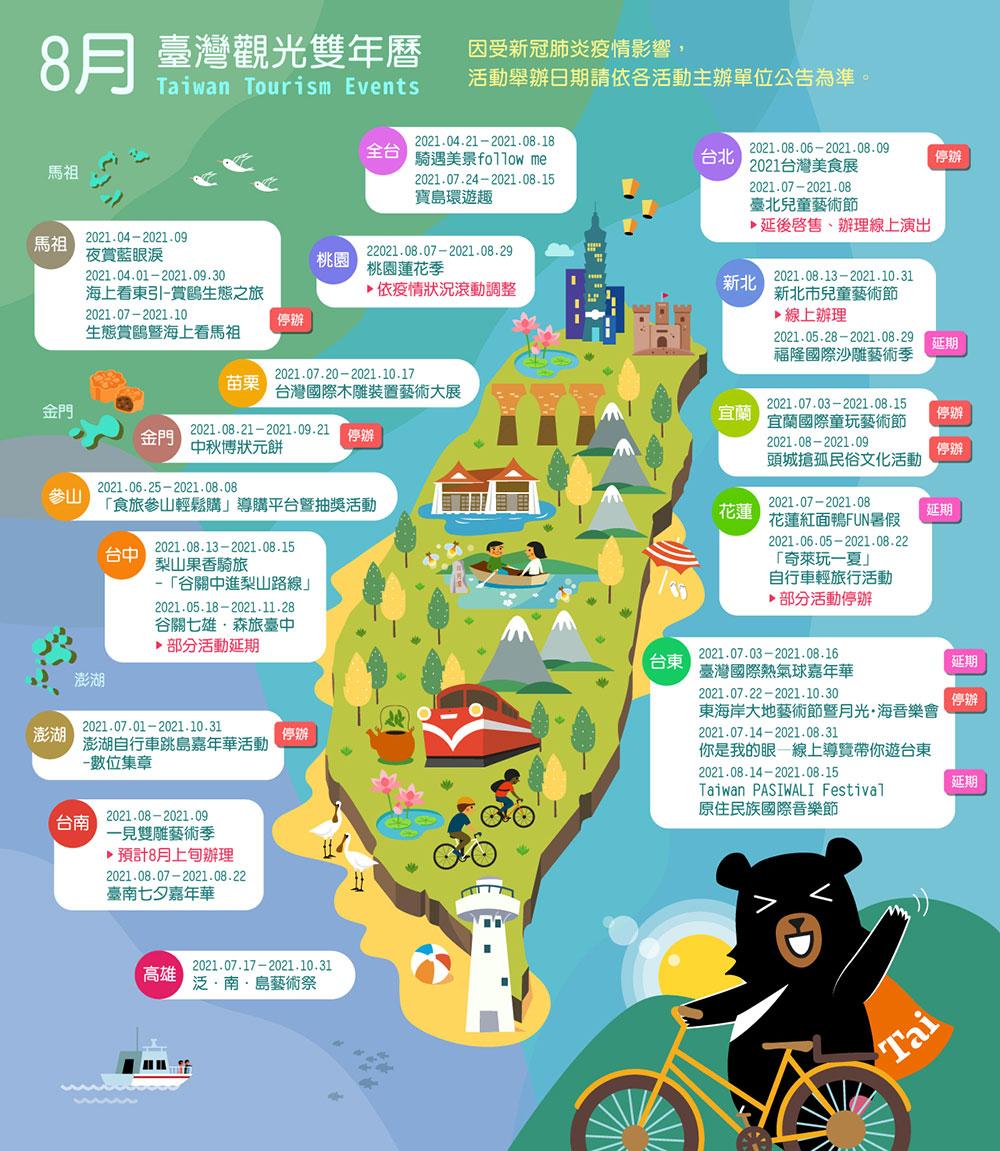 8月精彩活動盡在臺灣觀光雙年曆