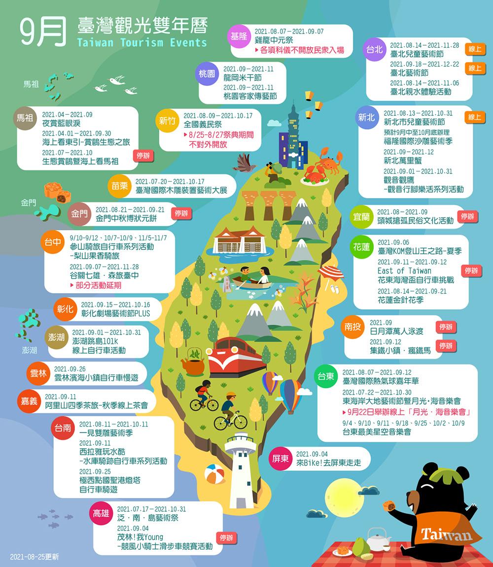 9月精彩活動盡在臺灣觀光雙年曆