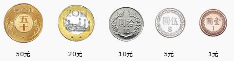 新台幣的硬幣分成:50元、20元、10元、5元、及1元。